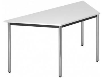 Konferenztisch mit Rund-Rohr chrom DORAN 160 x 69cm Weiß