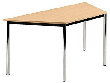 Konferenztisch mit Rund-Rohr chrom DORAN 160 x 69cm Buche