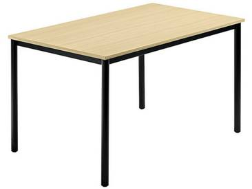 Konferenztisch mit Rund-Rohr schwarz DORAN 120 x 80cm Ahorn
