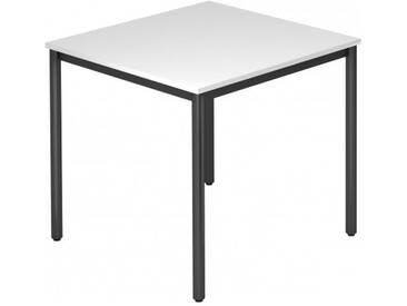 Konferenztisch mit Rund-Rohr schwarz DORAN 80 x 80cm Weiß