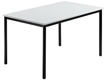 Konferenztisch mit Rund-Rohr schwarz DORAN 120 x 80cm Grau