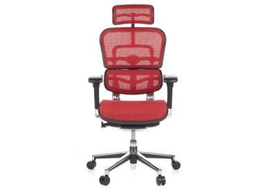 Bürostuhl / Chefsessel ERGOHUMAN Netzstoff rot hjh OFFICE