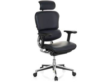 Bürostuhl / Chefsessel ERGOHUMAN Leder dunkelblau hjh OFFICE