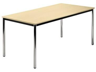 Konferenztisch mit Rund-Rohr chrom DORAN 160 x 80cm Ahorn