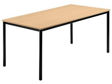Konferenztisch mit Rund-Rohr schwarz DORAN 160 x 80cm Buche