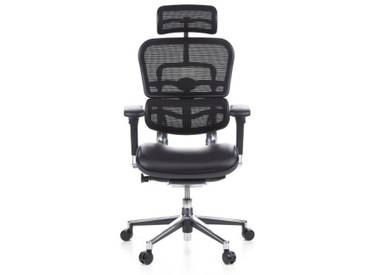 Bürostuhl / Chefsessel ERGOHUMAN Sitz Leder / Rücken Netz schwarz hjh OFFICE