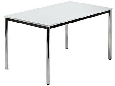 Konferenztisch mit Rund-Rohr chrom DORAN 120 x 80cm Grau