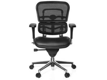 Bürostuhl / Chefsessel ERGOHUMAN BASE Sitz Leder/Rücken Netz schwarz hjh OFFICE