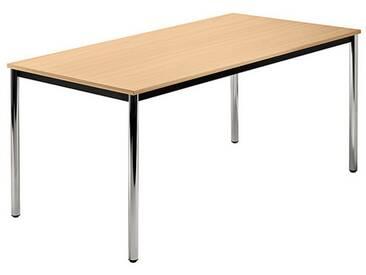 Konferenztisch mit Rund-Rohr chrom DORAN 160 x 80cm Buche