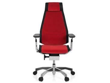 Bürostuhl / Drehstuhl GENIDIA PRO Stoff rot hjh OFFICE