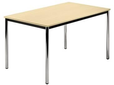 Konferenztisch mit Rund-Rohr chrom DORAN 120 x 80cm Ahorn