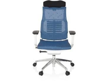 Bürostuhl / Chefsessel DYNAFIT WHITE Netzstoff blau hjh OFFICE