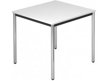 Konferenztisch mit Rund-Rohr chrom DORAN 80 x 80cm Weiß