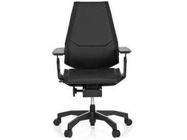 Bürostuhl / Drehstuhl GENIDIA BLACK Leder schwarz hjh OFFICE