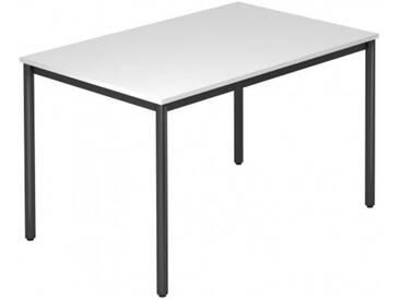Konferenztisch mit Rund-Rohr schwarz DORAN 120 x 80cm Weiß