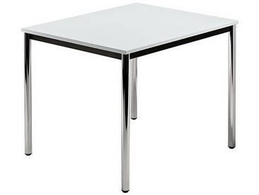 Konferenztisch mit Rund-Rohr chrom DORAN 80 x 80cm Grau