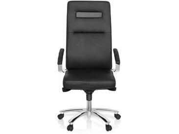 Bürostuhl / Chefsessel PALANGA Leder schwarz Chrom hjh OFFICE