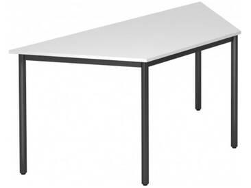 Konferenztisch mit Rund-Rohr schwarz DORAN 160 x 69cm Weiß