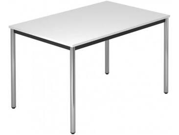 Konferenztisch mit Rund-Rohr chrom DORAN 120 x 80cm Weiß