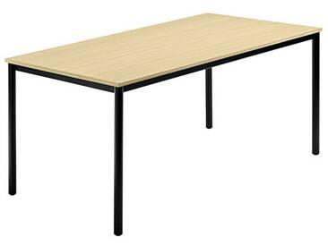 Konferenztisch mit Rund-Rohr schwarz DORAN 160 x 80cm Ahorn