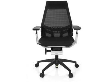 Bürostuhl / Drehstuhl GENIDIA SMART WHITE CM Netz schwarz AL Chrom hjh OFFICE