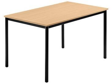 Konferenztisch mit Rund-Rohr schwarz DORAN 120 x 80cm Buche