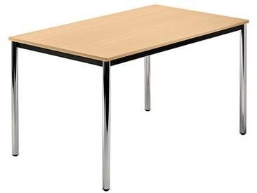 Konferenztisch mit Rund-Rohr chrom DORAN 120 x 80cm Buche