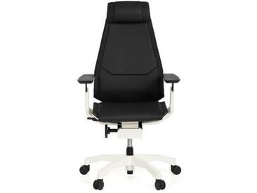 Bürostuhl / Drehstuhl GENIDIA PRO WHITE Leder schwarz hjh OFFICE
