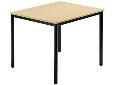Konferenztisch mit Rund-Rohr schwarz DORAN 80 x 80cm Ahorn