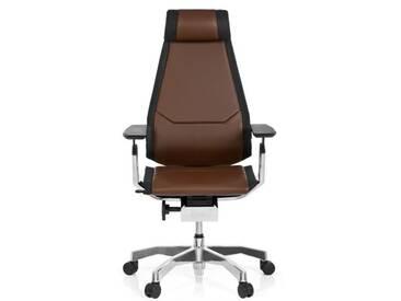 Bürostuhl / Drehstuhl GENIDIA PRO Leder braun hjh OFFICE