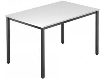 Konferenztisch mit Vierkant-Rohr schwarz DORAN 120 x 80cm Weiß