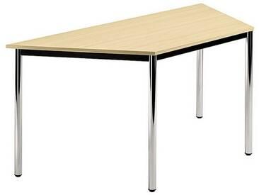 Konferenztisch mit Rund-Rohr chrom DORAN 160 x 69cm Ahorn