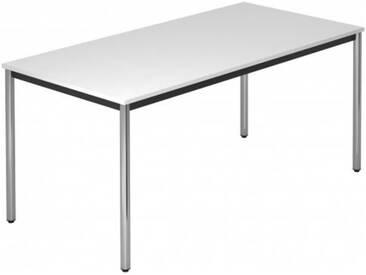 Konferenztisch mit Rund-Rohr chrom DORAN 160 x 80cm Weiß