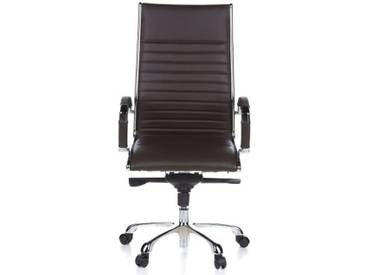 Bürostuhl / Chefsessel PARMA 20 Leder braun Chrom hjh OFFICE