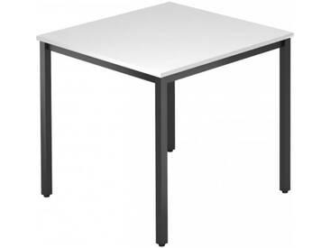 Konferenztisch mit Vierkant-Rohr schwarz DORAN 80 x 80cm Weiß