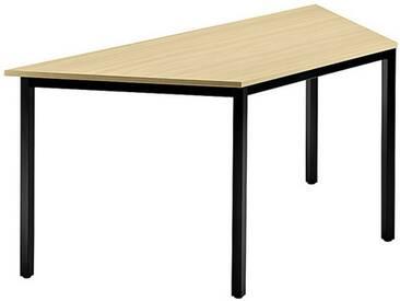 Konferenztisch mit Vierkant-Rohr schwarz DORAN 160 x 69cm Ahorn
