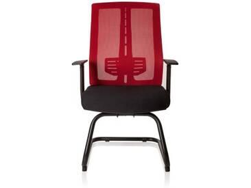 Besucherstuhl / Konferenzstuhl / Stuhl SOLENTO V schwarz / rot hjh OFFICE