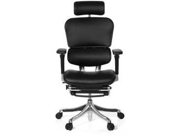 Bürostuhl / Chefsessel ERGOHUMAN PLUS LEGPRO mit Beinablage Leder schwarz hjh OFFICE