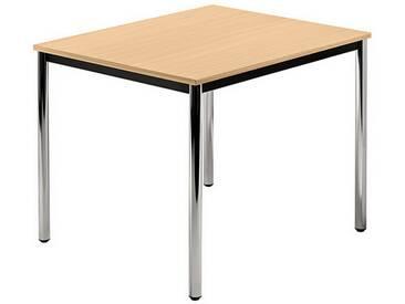 Konferenztisch mit Rund-Rohr chrom DORAN 80 x 80cm Buche