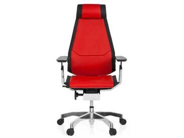 Bürostuhl / Drehstuhl GENIDIA PRO Leder rot hjh OFFICE