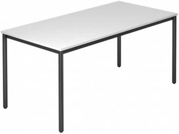 Konferenztisch mit Rund-Rohr schwarz DORAN 160 x 80cm Weiß