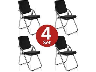 4 x Konferenzstuhl / Besucherstuhl / Klappstuhl ESTO V PU schwarz 4er Pack hjh OFFICE