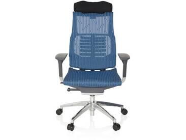 Bürostuhl / Chefsessel DYNAFIT BLACK Netzstoff blau hjh OFFICE