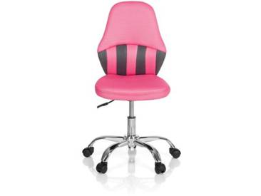 Kinder Bürostuhl / Drehstuhl KIDDY STRIPE Stoff grau/pink hjh OFFICE