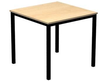 Konferenztisch mit Vierkant-Rohr schwarz DORAN 80 x 80cm Ahorn