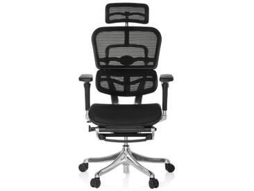 Bürostuhl / Chefsessel ERGOHUMAN PLUS LEGPRO mit Beinablage Netz schwarz hjh OFFICE
