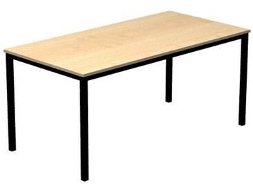 Konferenztisch mit Vierkant-Rohr schwarz DORAN 160 x 80cm Ahorn