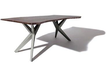 Baumtisch Akazie 220x100x76 grau lackiert Beine anthrazit glänzend FREEFORM 4 #54