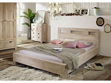 Bett Akazie 160x200x90 whitestone getüncht NATUREWHITE #201