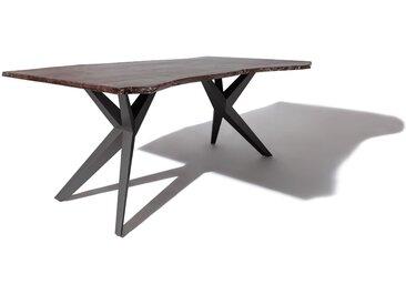 Baumtisch Akazie 140x90x76 grau lackiert Beine anthrazit matt FREEFORM 4 #19